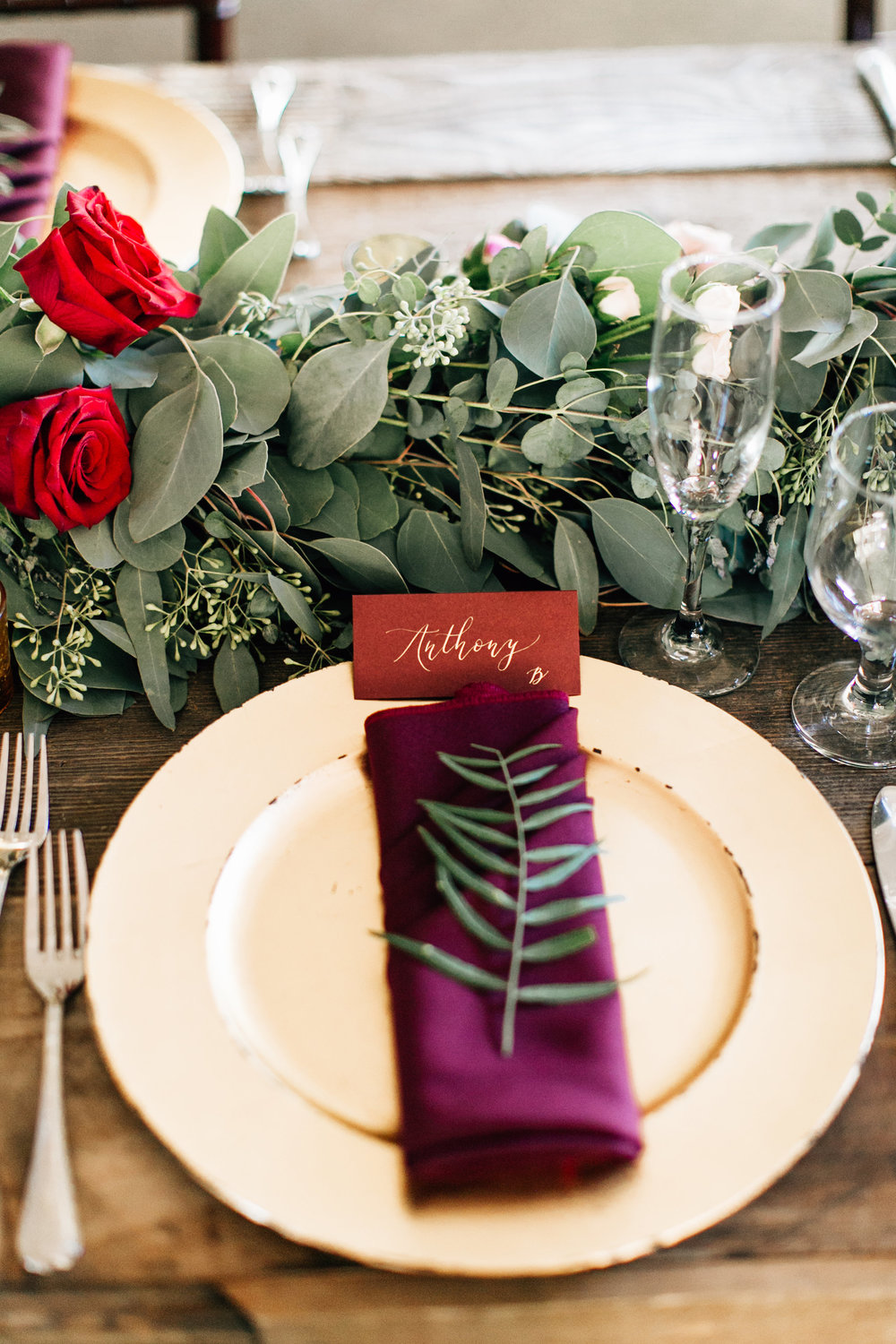 Gold and Marsala Place Cards | Green Gables Estate Wedding, California