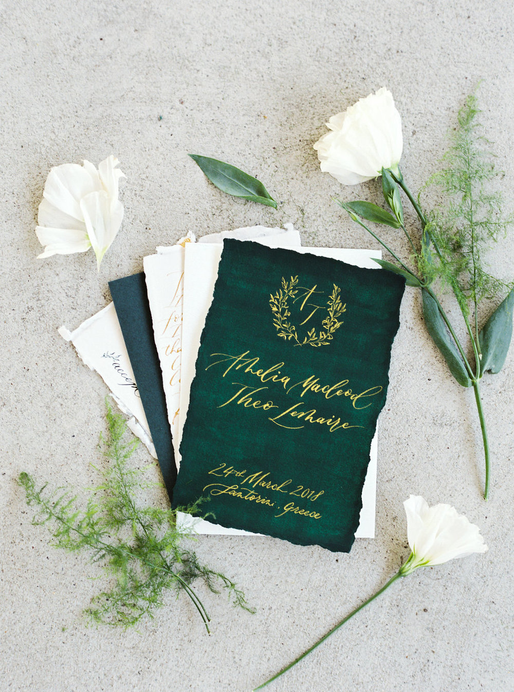 Non-traditional emerald and gold wedding invitations  Photo by  Sheri McMahon Photography