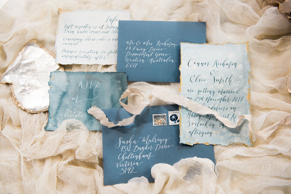 Shore-inspired watercolour wash invitations  Photo by  Erin McKenzie
