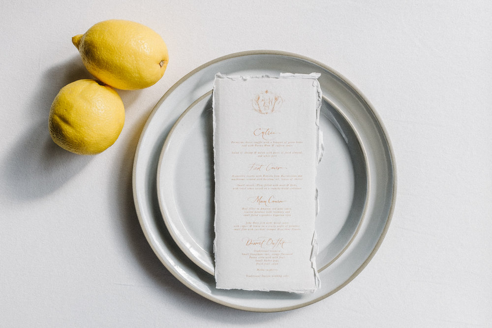 Dinner menu on handmade paper  Wedding logo:  Judith Ann   Calligraphy and stationery design: Small Brown Writes