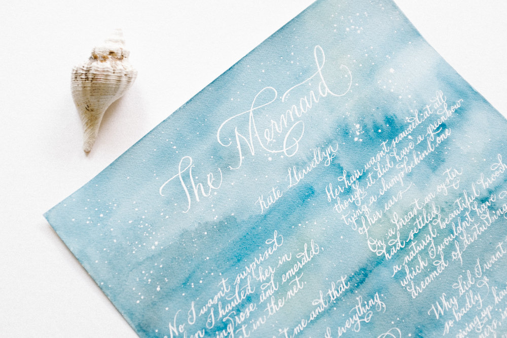 The mermaid poem custom calligraphy