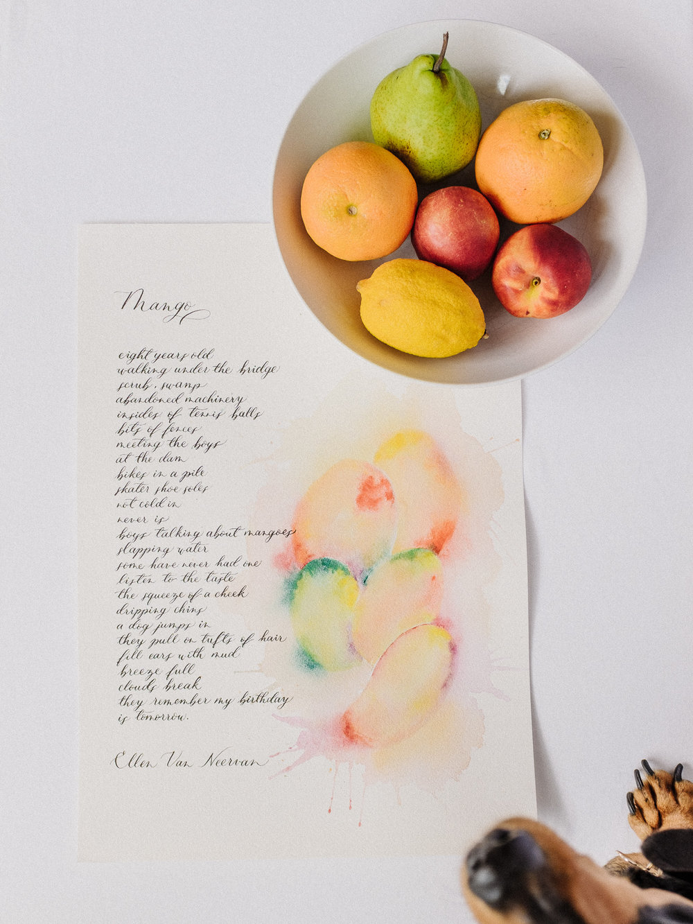 Mango poem custom calligraphy