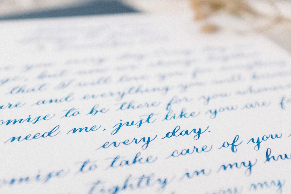 Wedding vows custom calligraphy