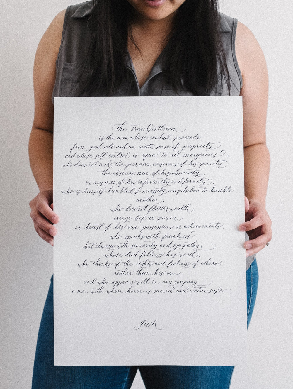 The True Gentleman poem custom calligraphy