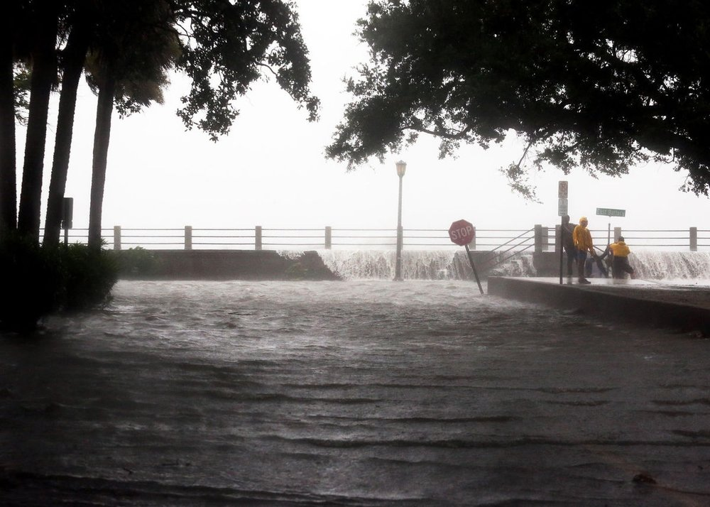 South Battery flooded Monday, September 11th due to Tropical Storm Irma. Photo by  Post & Courier  staff member Brad Nettles.