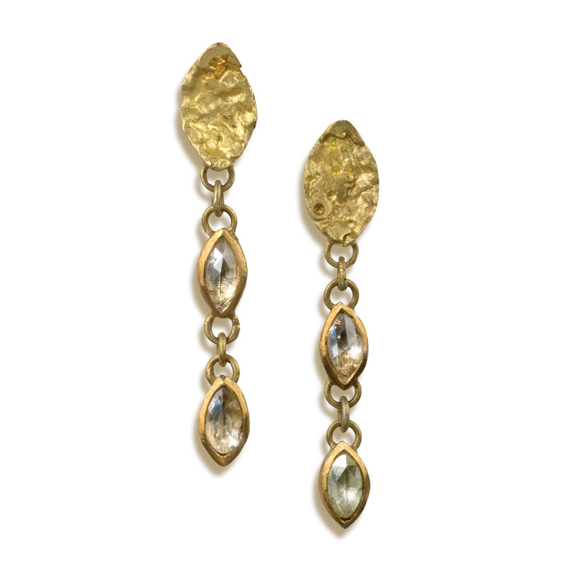 18ct gold earrings with rosecut marquis diamonds