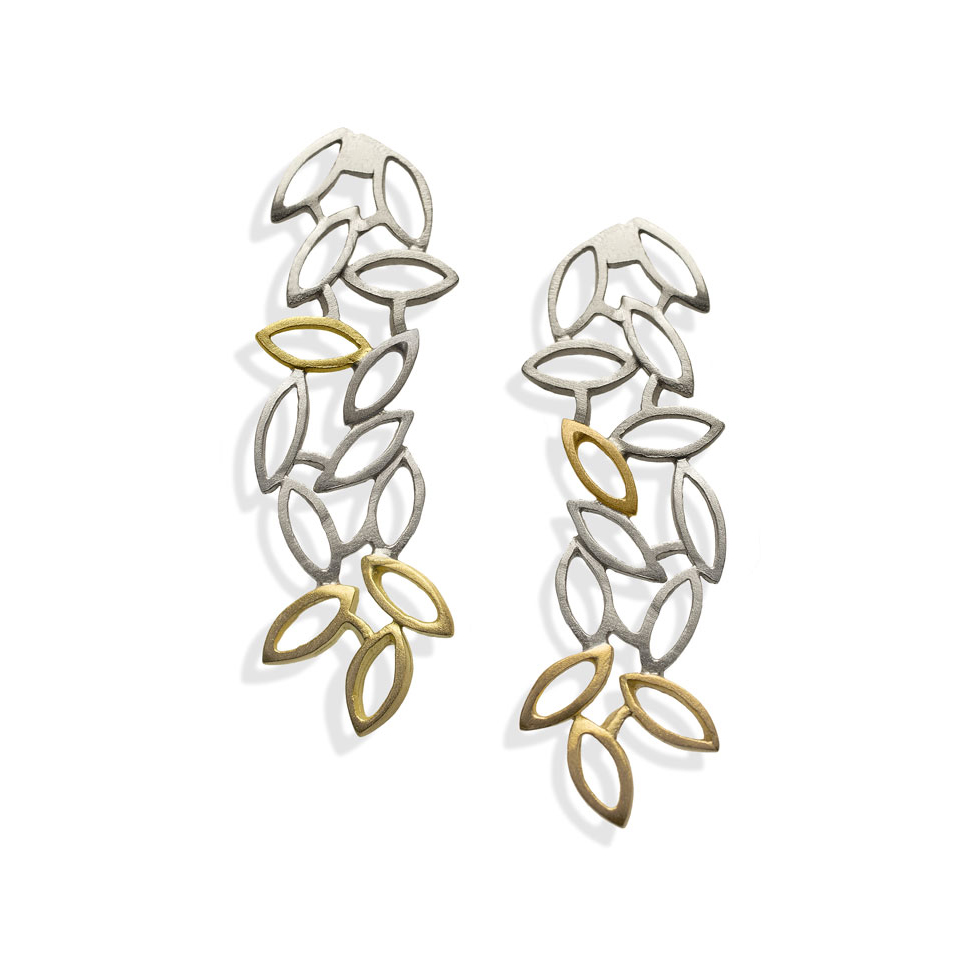 Silver, 14ct gold earrings