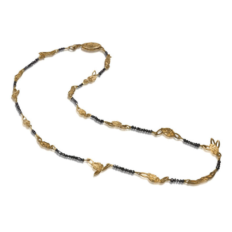 Gold plated silver necklace with black diamond beads