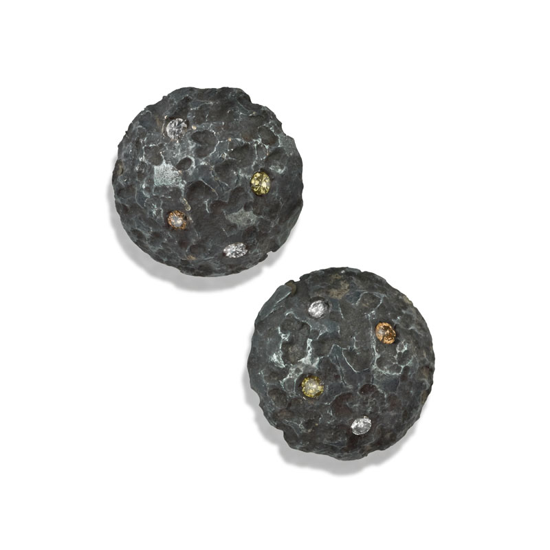 Small oxidised etched silver earrings with diamonds
