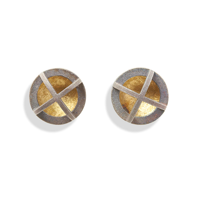 18ct gold and silver earrings