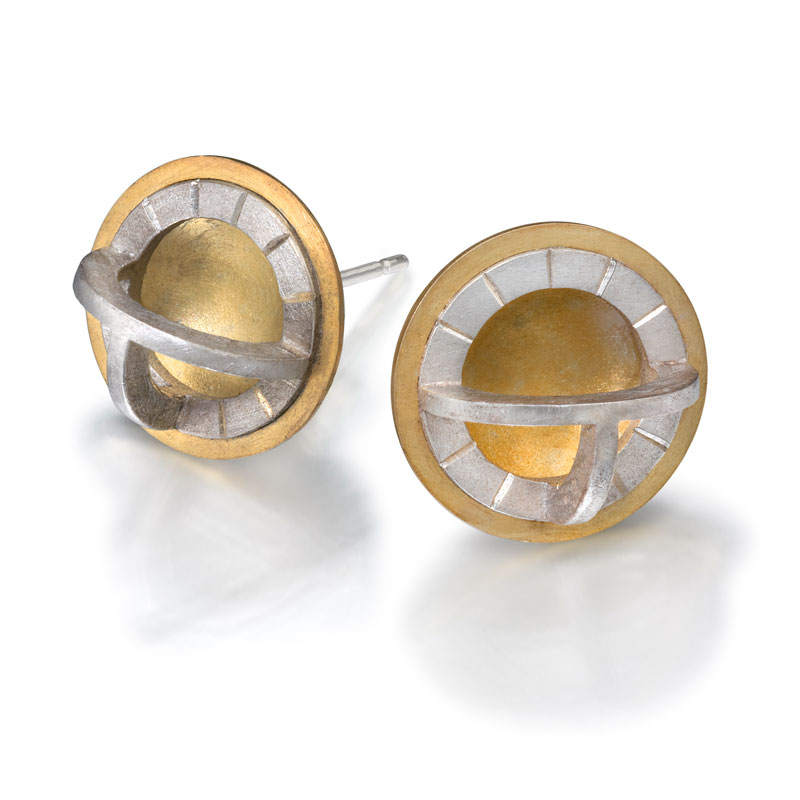 18ct gold and engraved silver earrings