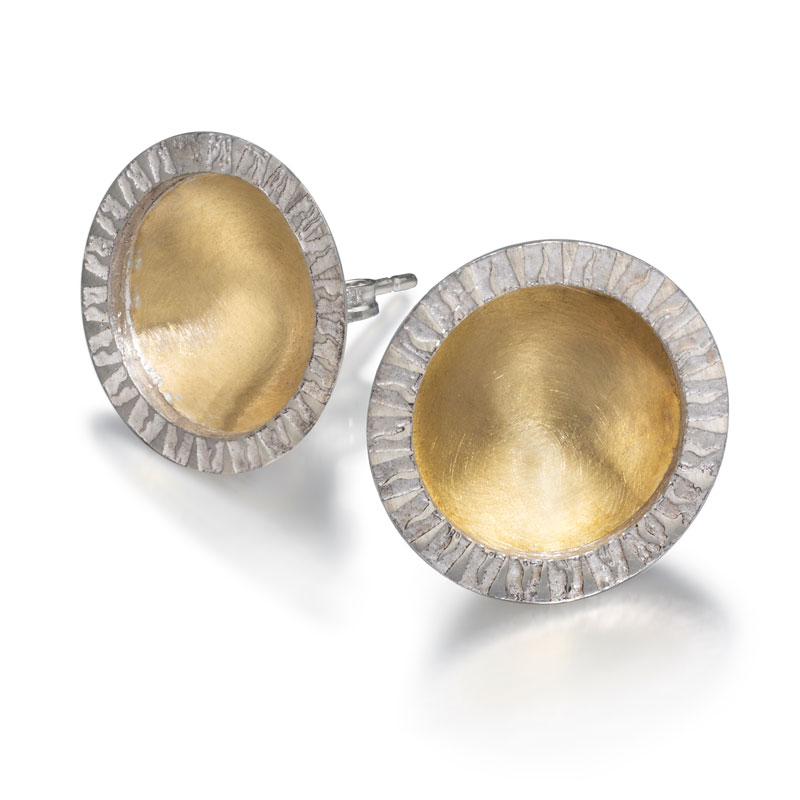 18ct gold and etched silver earrings