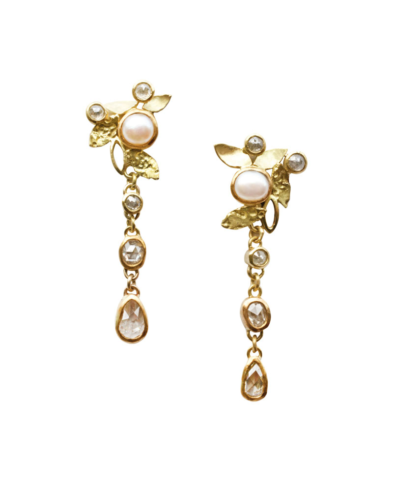 18ct gold earrings with pearls and rose cut diamonds