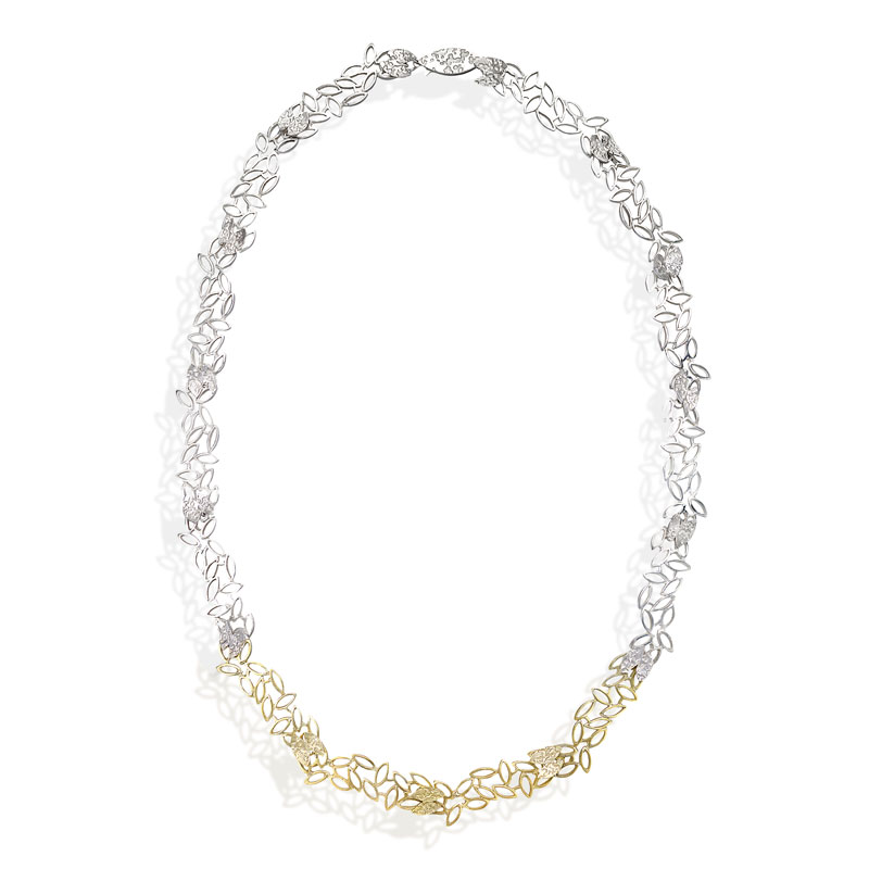 Silver, 14 and 18ct gold necklace