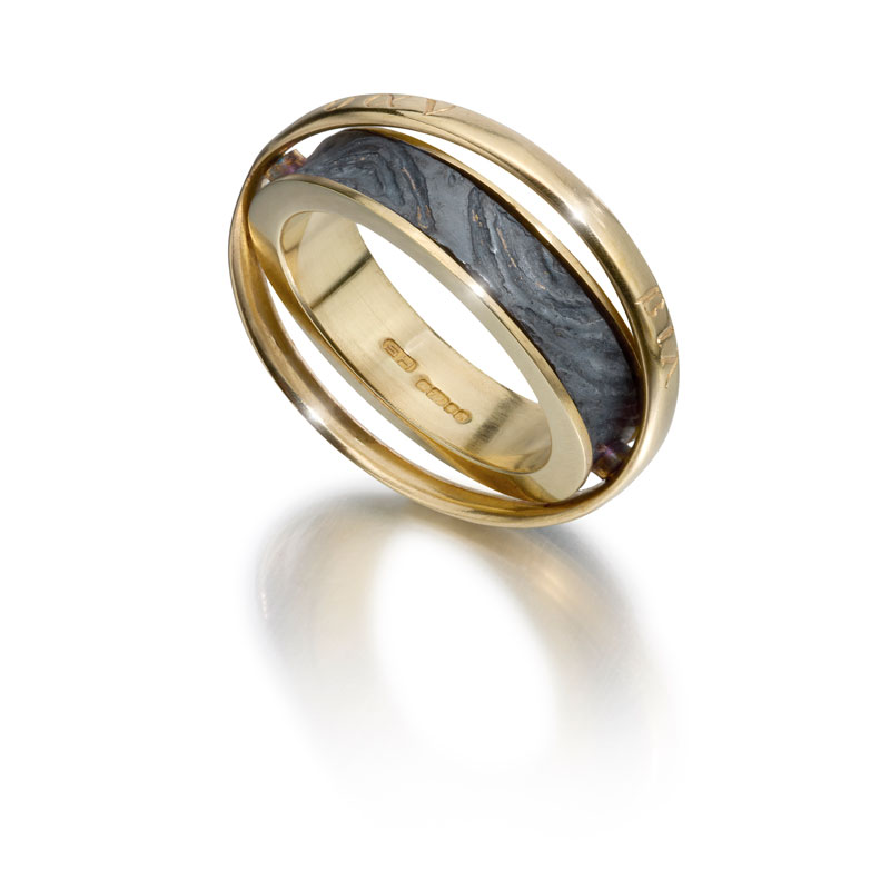 18ct gold and etched silver oxidised rotating ring