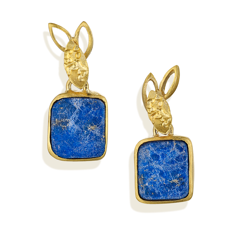18ct gold and lapis lazuli earrings
