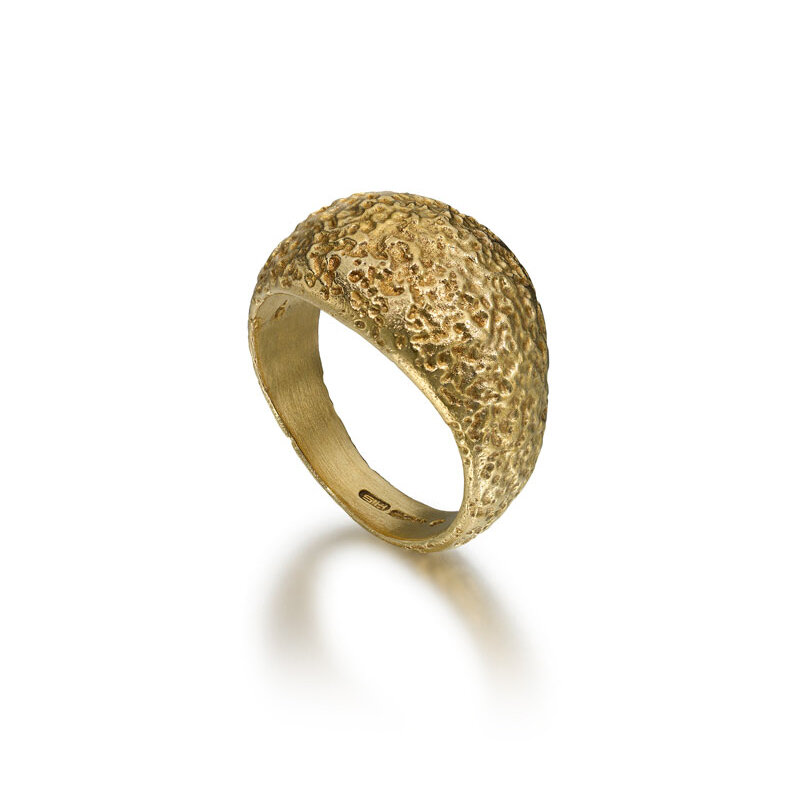 Gold plated etched silver ring