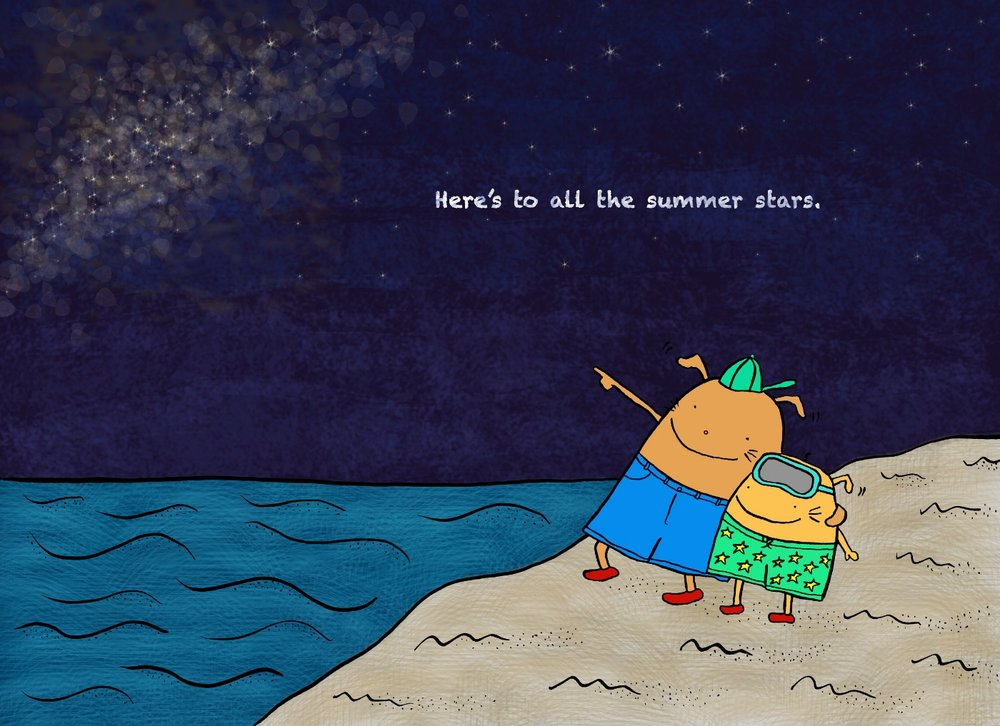 Percy pointing out the Milky Way to little Pip . by Kate and Christoph Teves
