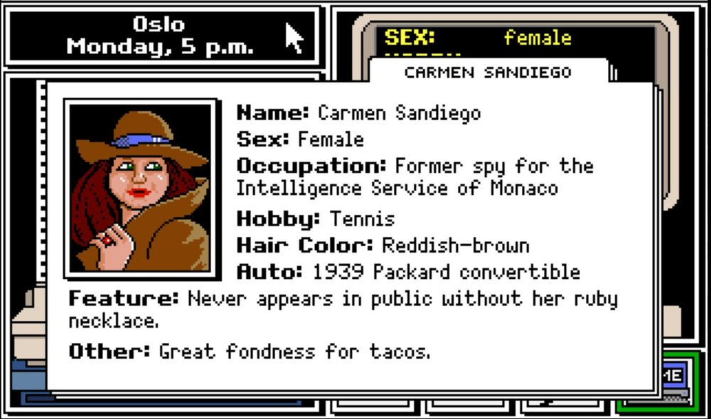 Screenshot from the original  Carmen Sandiego  computer game.