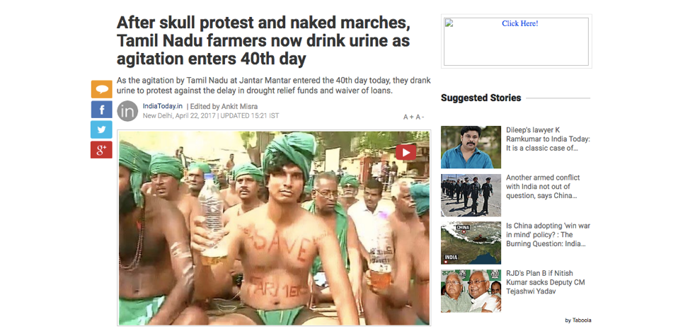 Headline of a story (22nd April 2017) from the India Today website about the protests by Tamil Nadu farmers