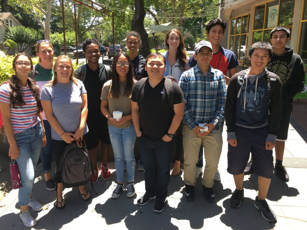 2018 Summer High School Research Team  (L to R with high school researchers in ALL CAPS): GURNOOR, LillyBelle, Lisa, Jakeem, LAUREN, TACIANA, Tseng, Shannon, JOSUE, CARLOS, EYRON, JONATHAN