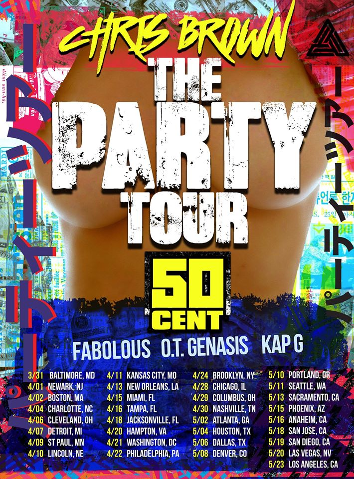 """Chris Brown launches his """"The Party"""" tour with supporting acts of 50 Cent, Fabolous, O.T Genasis, and Kap G! Make sure you get your tickets for the Atlanta show at Phillip's Arena on May 2nd!"""