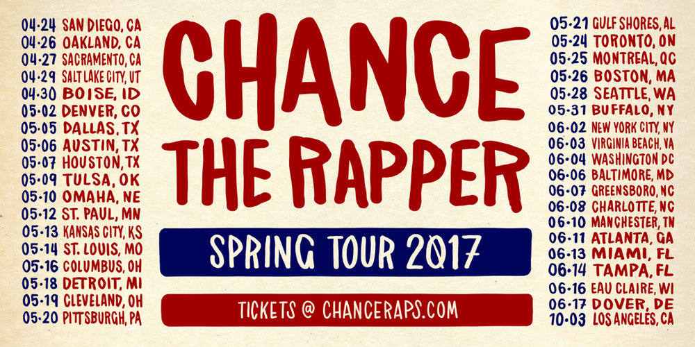 Chance The Rapper is back in Atlanta for his Spring 2017 Tour! He will be hitting the stage at Lakewood Amphitheatre on June 11th. Make sure your secure your ticket before they sell out! Visit http://chanceraps.com/tour/ for details.
