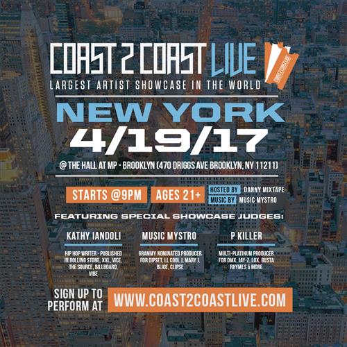 Coast 2 Coast LIVE is the Largest Artist Showcase in the World that brings together Artists, DJs, Producers, Media and more for a professional networking event & artist showcase. Artists in the showcase are judged by a panel of celebrity judges via the exclusive Coast 2 Coast LIVE judging system on iPads, and the winner walks away with a huge prize package to take their career to the next level and join Coast 2 Coast in Miami for the year end Coast 2 Coast Music Conference