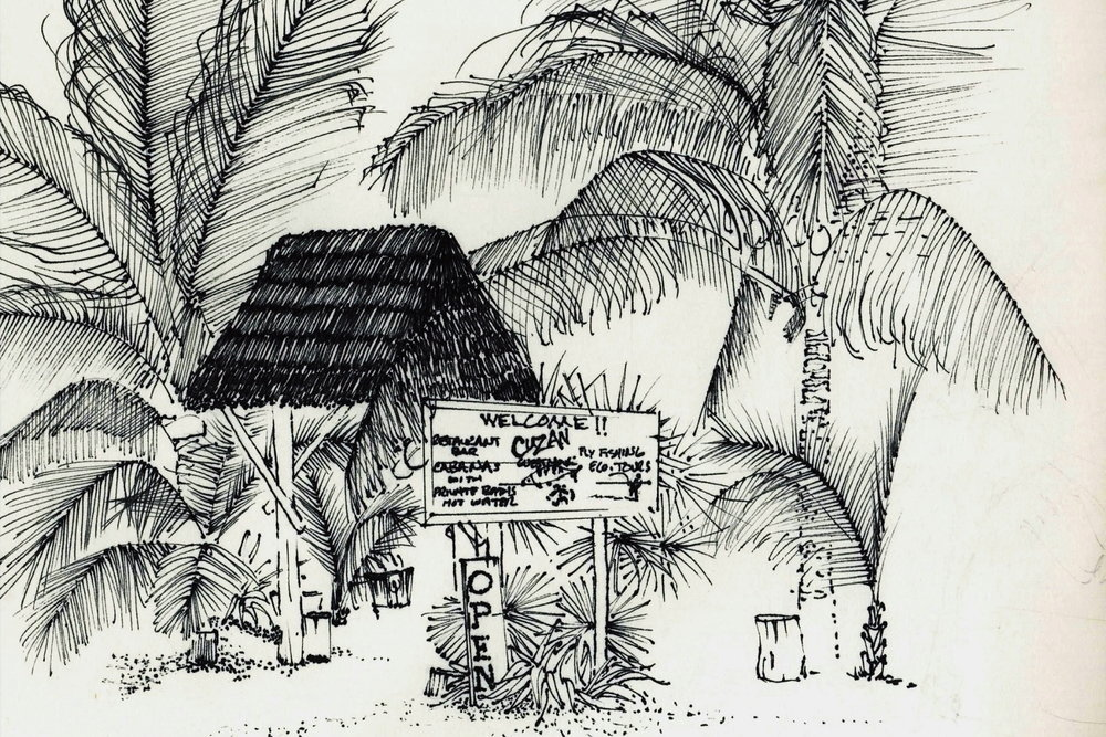 """Cuzan Guest House Reception"", Pamela Rhodes, pen & ink"
