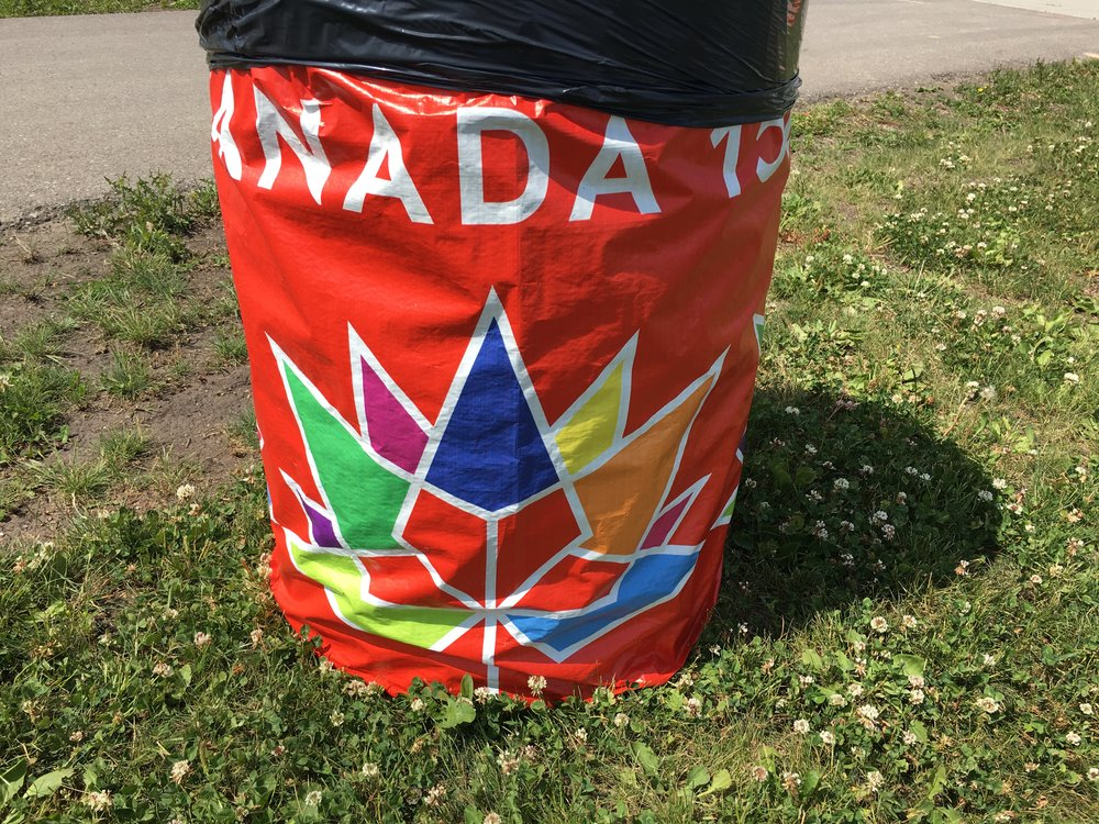Even the trashcans are getting in on the Canada Day festivities!