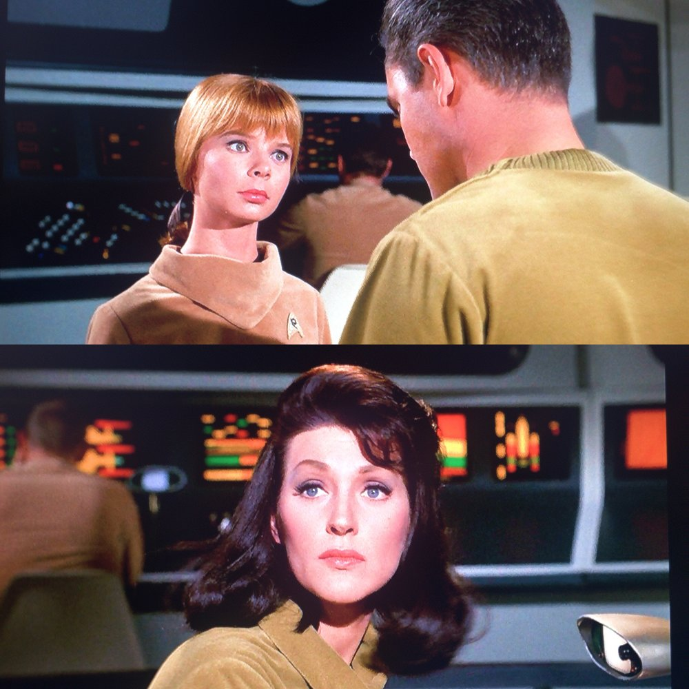 Above: This young yeoman can't control her lust for Captain Pike. Below: Number One is different, of course.
