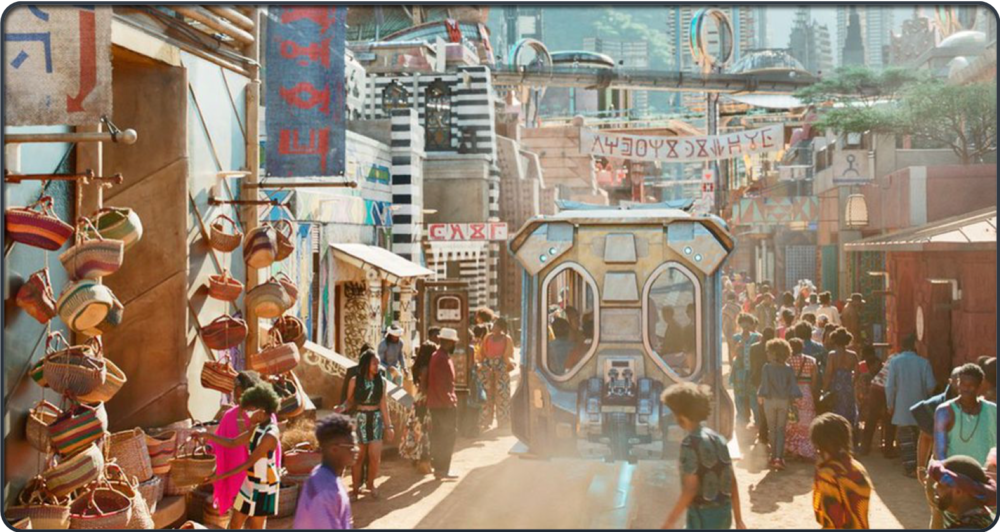 Wakanda: artisanal marketplace, no scarcity, Afro-futurism in the present.