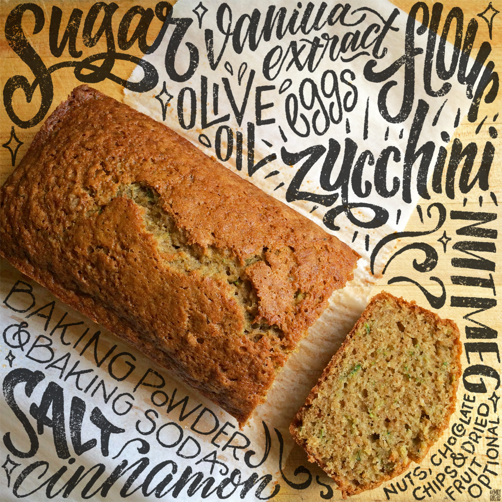 Hand-lettered zucchini bread recipe and photography