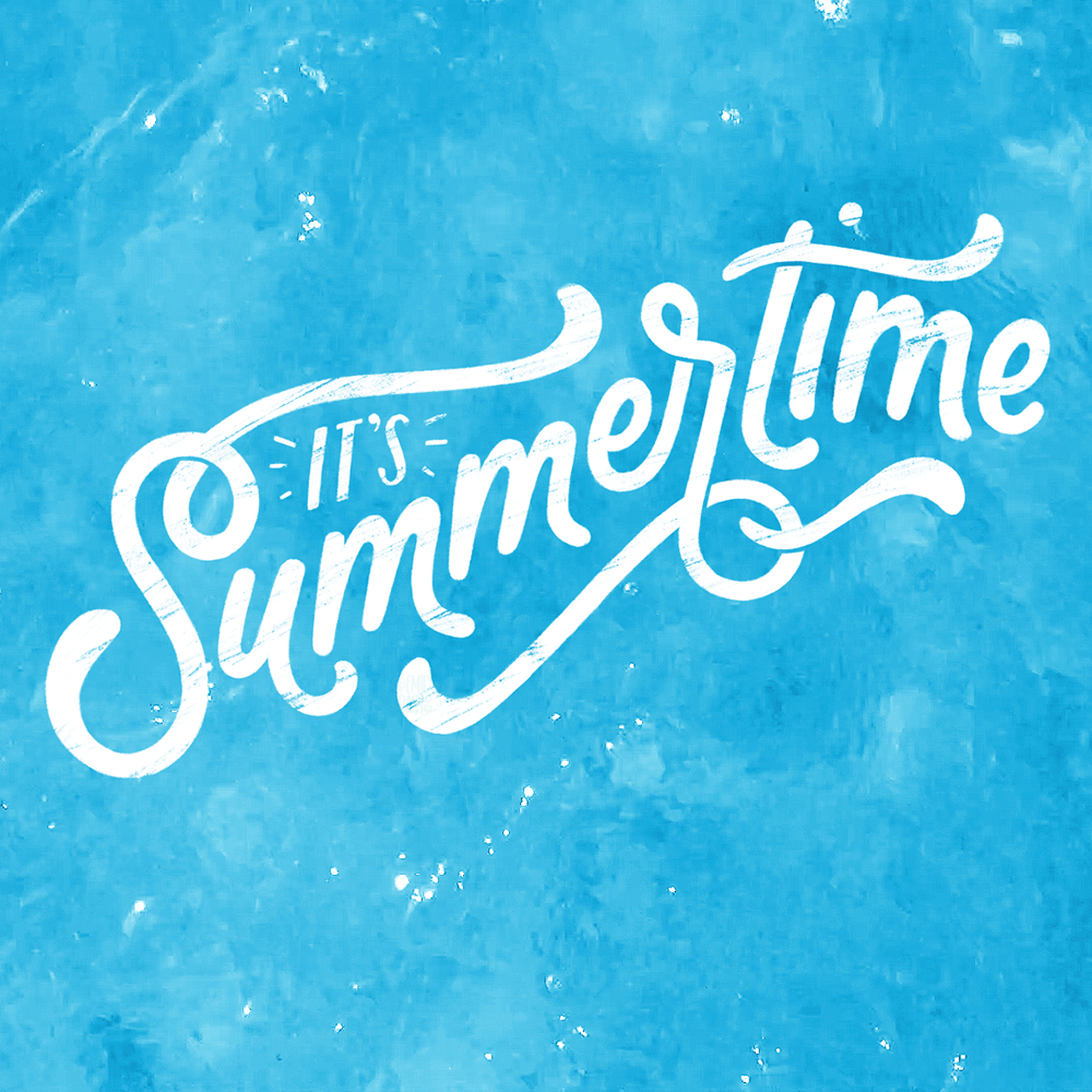 It's Summertime digital hand lettering over water still image