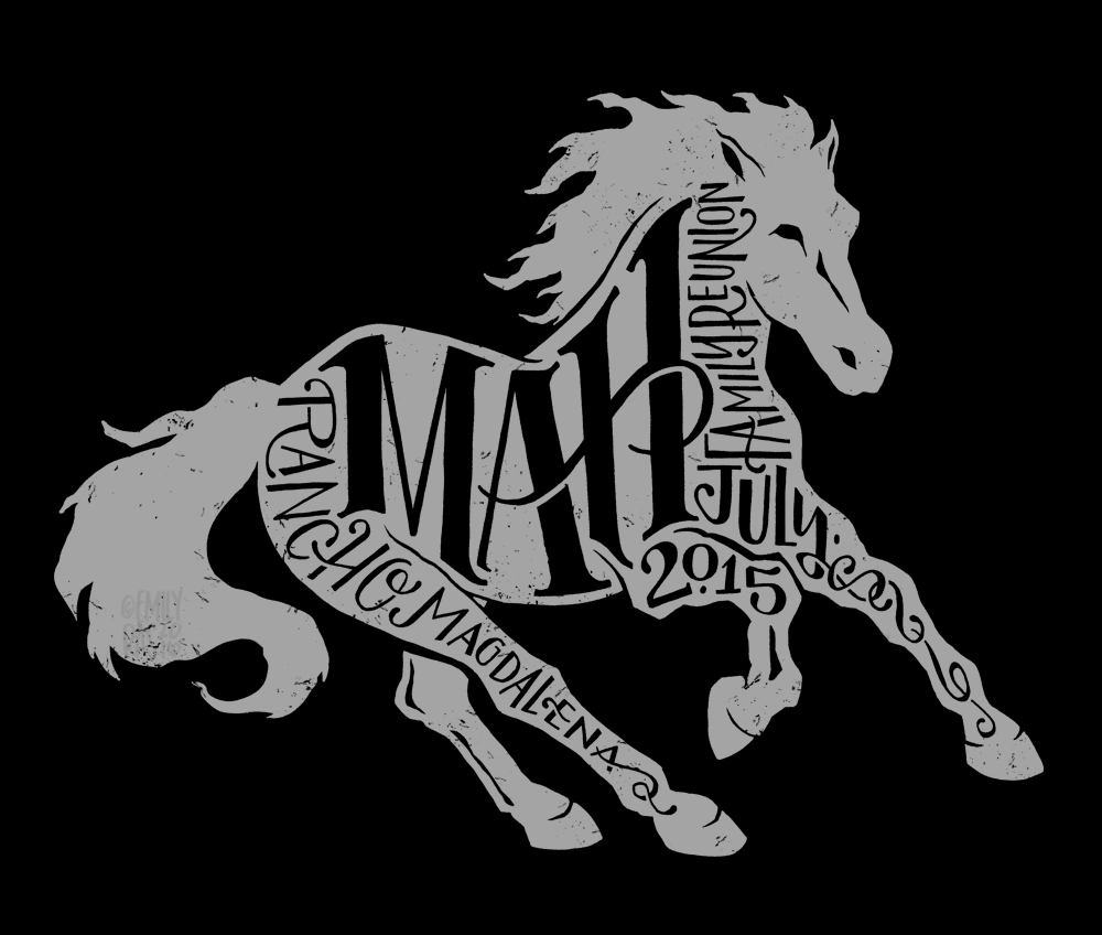 Horse illustration and hand lettering t-shirt design