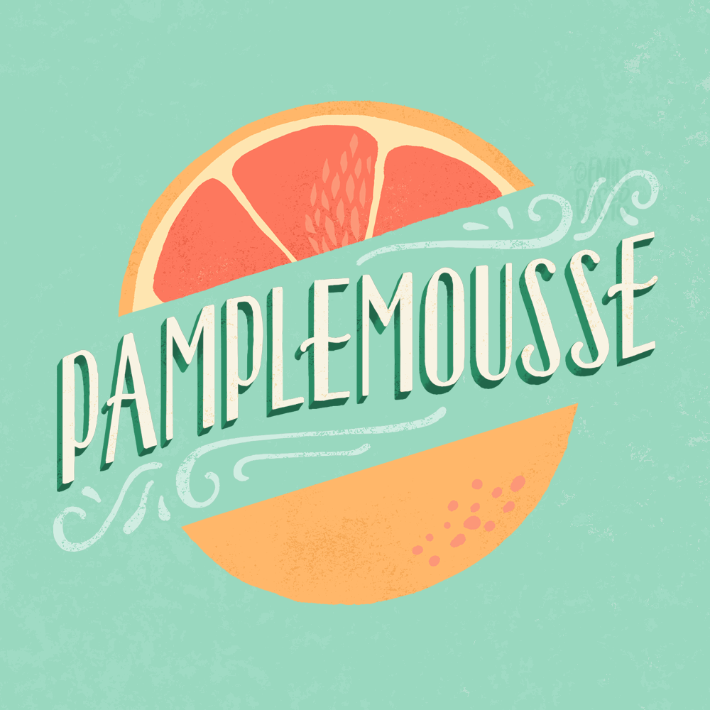 Pamplemousse (grapefruit) illustration with hand lettering