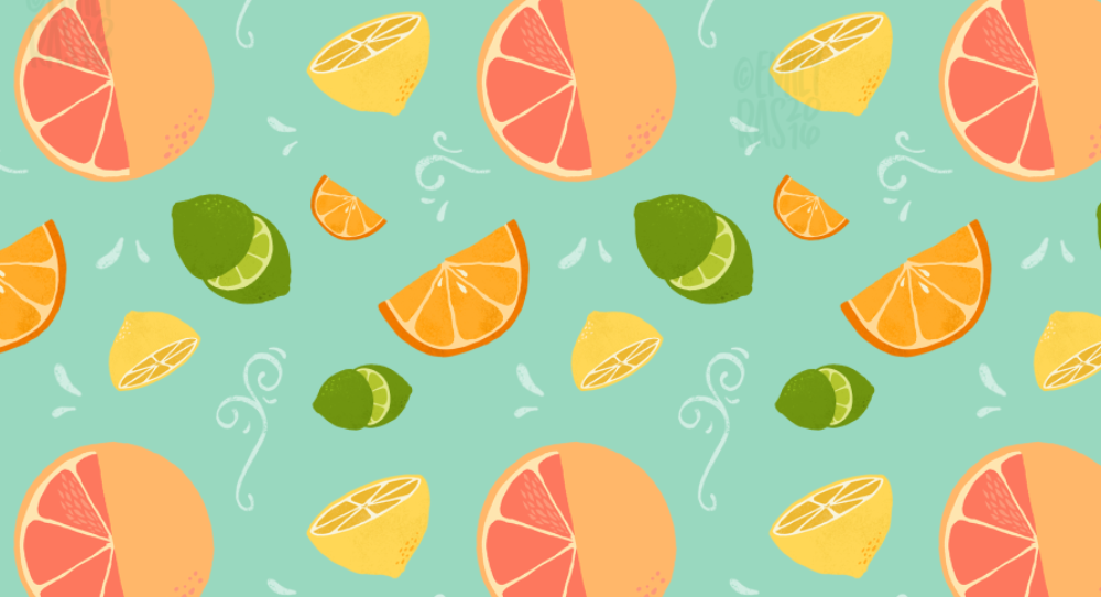 Brightly colored citrus pattern illustration