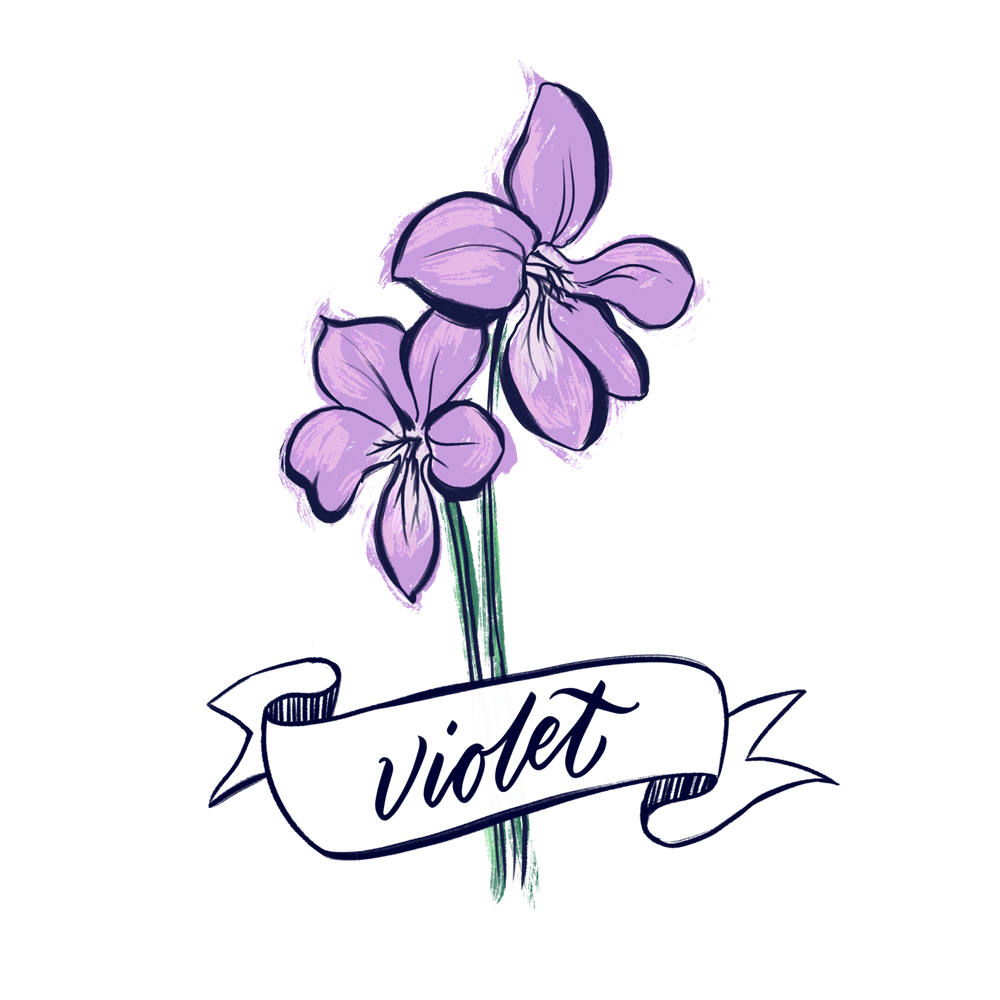 Violet flower illustration with hand lettering