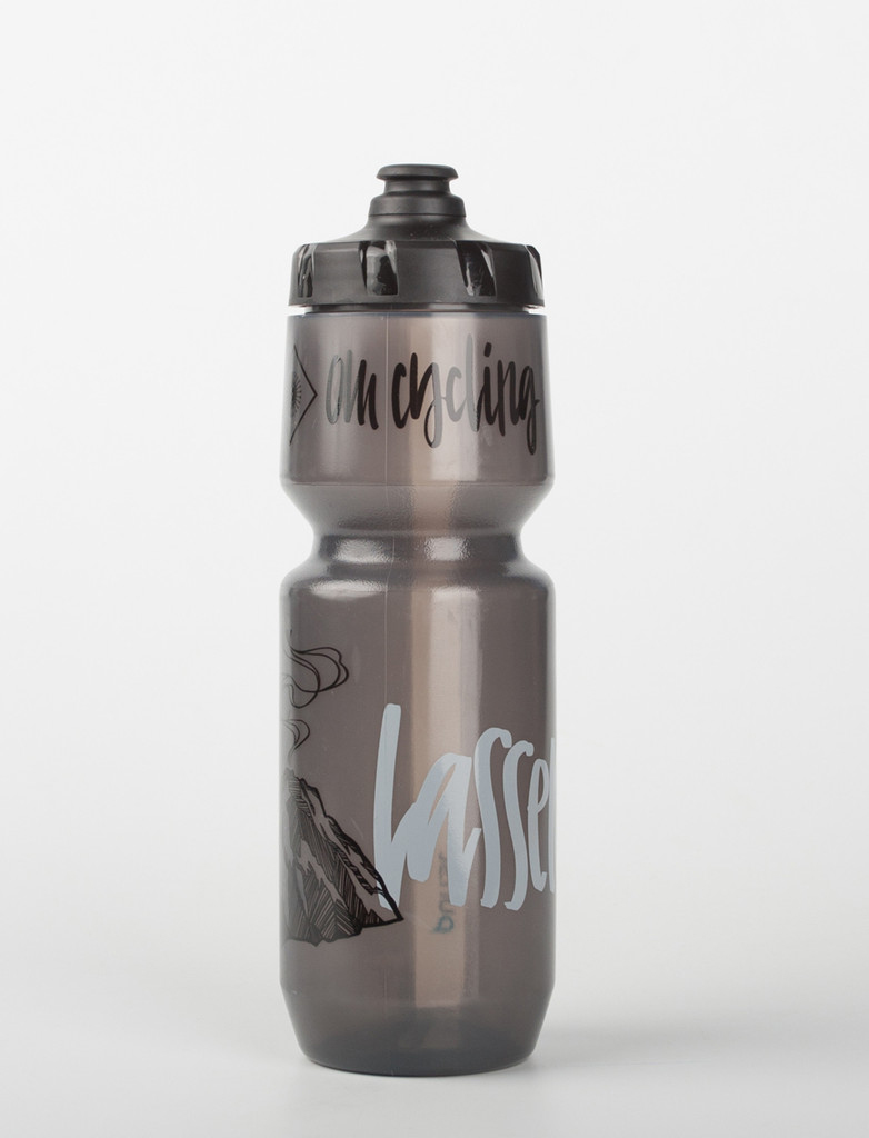 Lassen volcano and custom lettering on water bottles