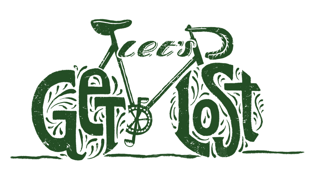 Bike illustration with integrated custom lettering