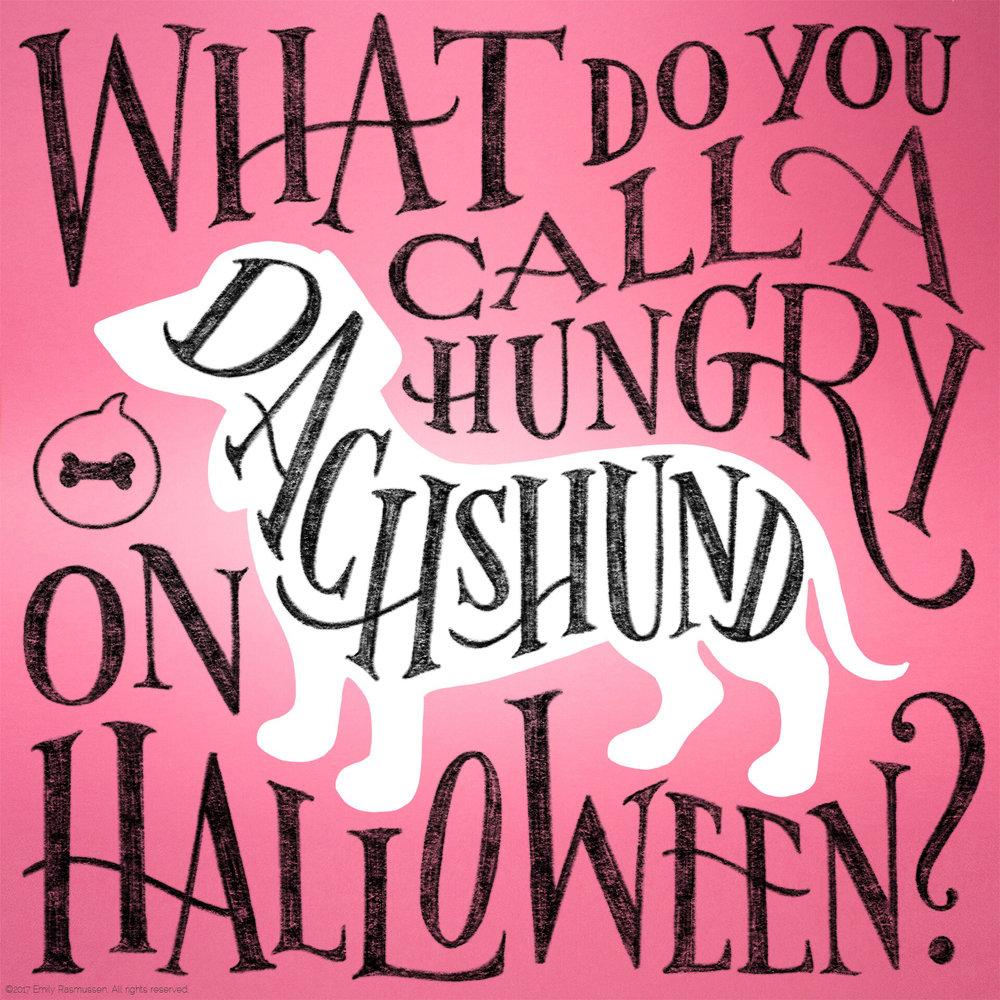 Hand-lettered Halloween dachshund joke setup