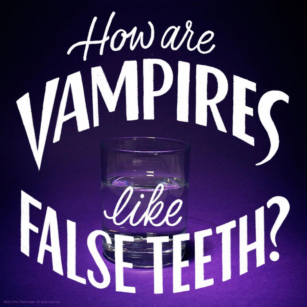 Hand-lettered Halloween vampire joke setup