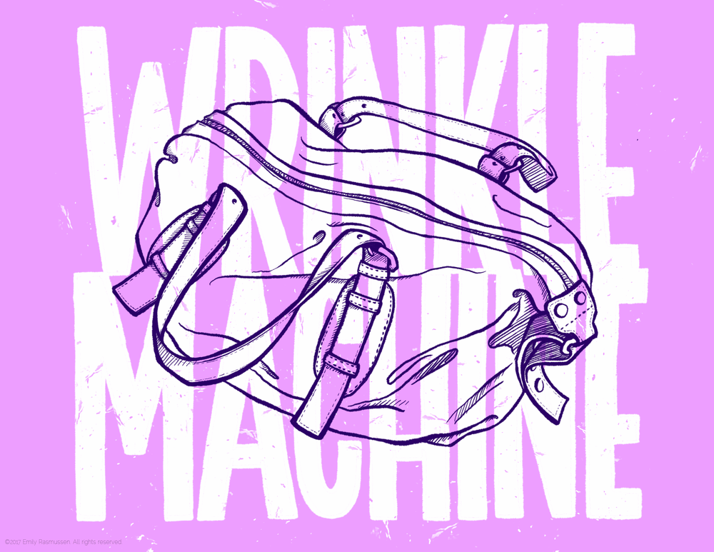Wrinkle Machine digital hand lettering and illustration