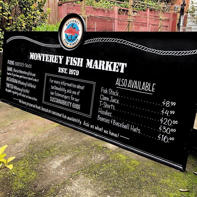This big board got a refresh in water-resistant paint marker so everything stays in place when the shop gets steamy 🦀 You can see it and pick up some fresh sustainable seafood from the lovely folks over at @montereyfishmarket 🎣