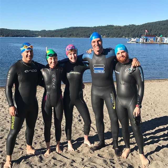 VO2 camp crew.  Beautiful morning for a swim in CDA Lake, nice and calm ☀️