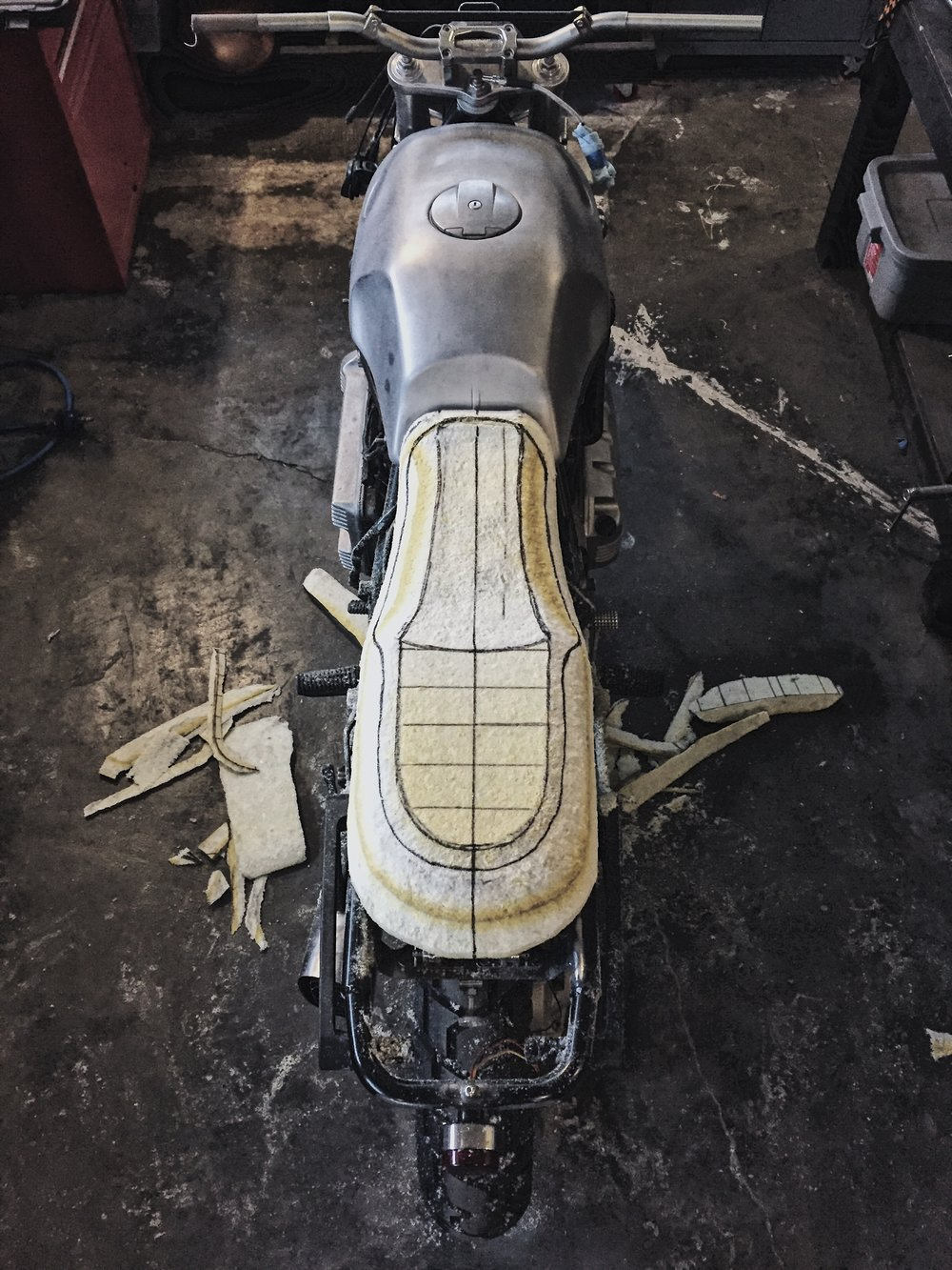 Custom Motorcycle Seat Foam Carving_Moto-Mucci 9