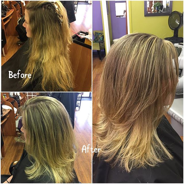 Highlights, a 5 inch cut and beautiful blowout! Done by Cinthia Hannington. Make your appointment today! 💇🏼💕#hair #salone #beautifulhair #love #blonde #highlights