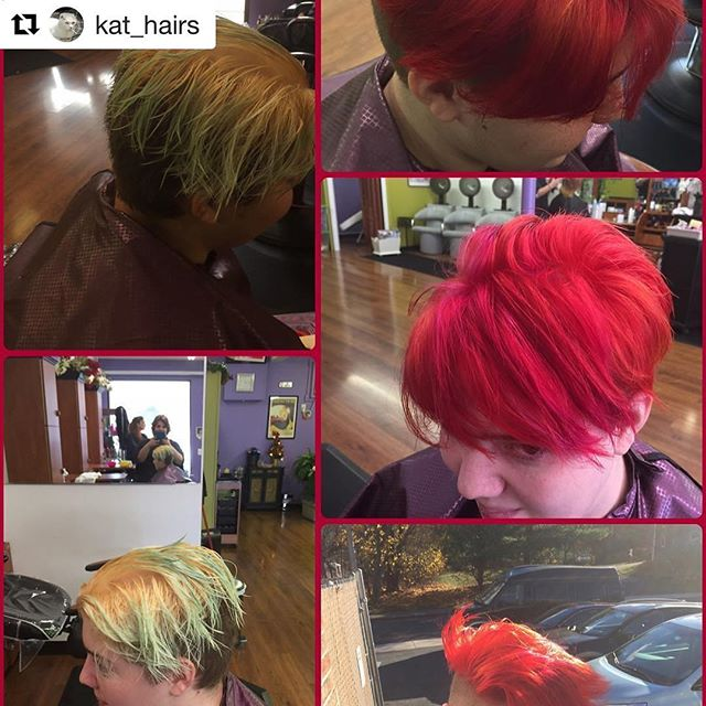 Beautiful before and after by Britt!!🔥💋👍🏻 #Repost @kat_hairs with @repostapp ・・・ Today's fun at work!! #pravana #pravanavivids #colormelt #olaplex