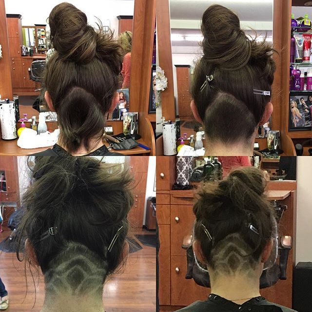 Before and after: A beautiful undercut and lotus design done by Michelle today!!! 🌸🌺 #undercut #buzz #flowers #beautifulhair #brunette #razorfade #lotus #awesome #socool #cool