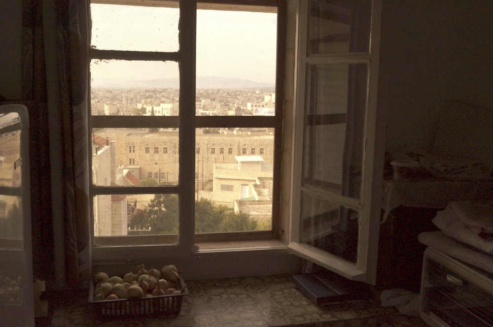 Looking out onto Jenin from itaf's kitchen.